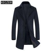 KEGZEIR 2019 Winter Long Men Overcoat Wool Casual Fashion Pea Coat Men Slim Woolen Coat Men Abrigos Hombre High Quality
