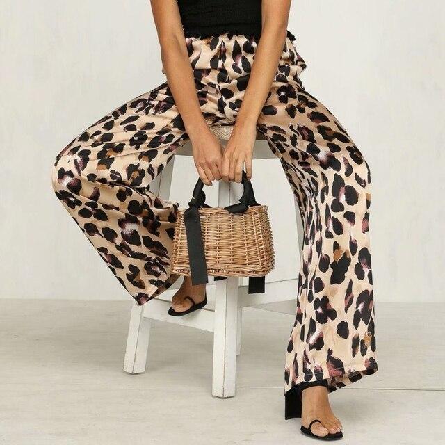 Autumn Women Wide Leg 2018 Fashion Leopard Pants High Waist Fashion Elegant Streetwear Causal Trousers for Women Slim OL Pants