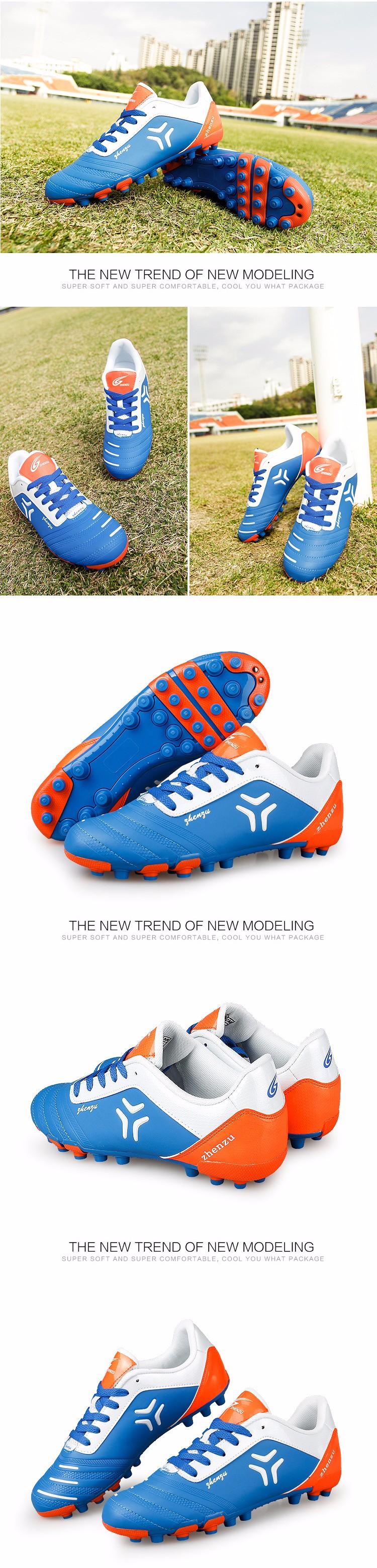 ZHENZU 2017 Football Shoes Soccer Cleats Boots chuteira futebol Training Teenagers Kids AG Artificial Ground chaussure foot