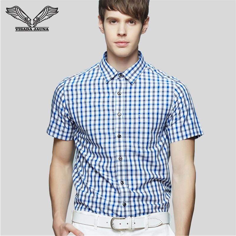 Visada jauna мужчины рубашка с коротким рукавом повседневная марка clothing бизнес платье blusas mujer тонкий camisa социальной masculina n1374