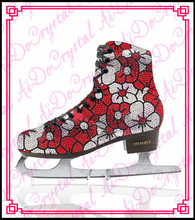 Aidocrystal 2015 hot sale flower pattern crystal whole cold resistant ice skates shoes lady figure skating