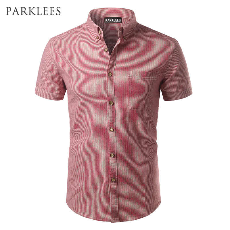 Mode Gestreepte Shirt Mannen 2017 Brand Nieuwe Mannen Shirt Slim Fit Korte Mouw Heren Dress Shirts Casual Button Down Shirts homme 4XL