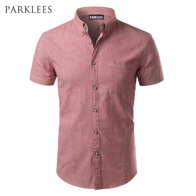 3512176f288 Fashion Striped Shirt Men 2017 Brand New Men Shirt Slim Fit Short Sleeve  Mens Dress Shirts Casual Button Down Shirts Homme 4XL