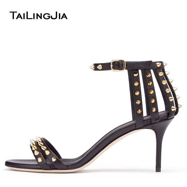 1cf621d8b96 Sexy Black Strappy Sandals with Spikes Studded High Heel Dress Shoes Women  Ankle Strap Mid Heel Summer Shoes Party Shoes 2018
