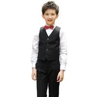 Children Korean Japanese School Uniform for Boys Kid White Shirt Black Pants Waistcoat Vest Tie Clothes Set Student Outfits Suit