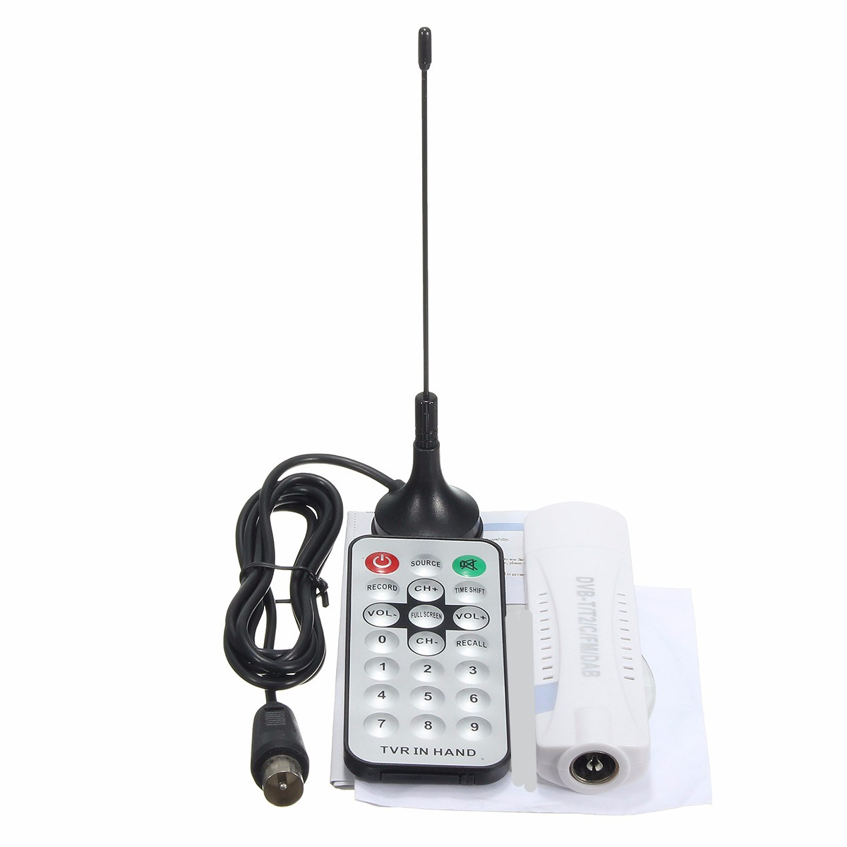 Digital DVB-T2/T DVB-C USB2.0 TV Tuner Stick HDTV Receiver with Antenna Remote Control HD USB Dongle PC/Laptop for Windows dvb t tv adapter cable mcx female jack to dvb t tuner antenna extension rg316