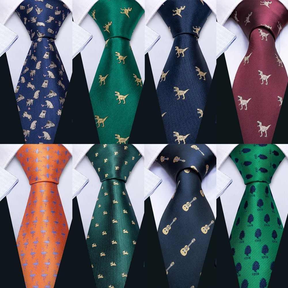 ee671672b906 New Barry.Wang 19 Styles Men's Wedding Tie Dinosaur Pattern Mens Wedding  Neckties 8.5cm