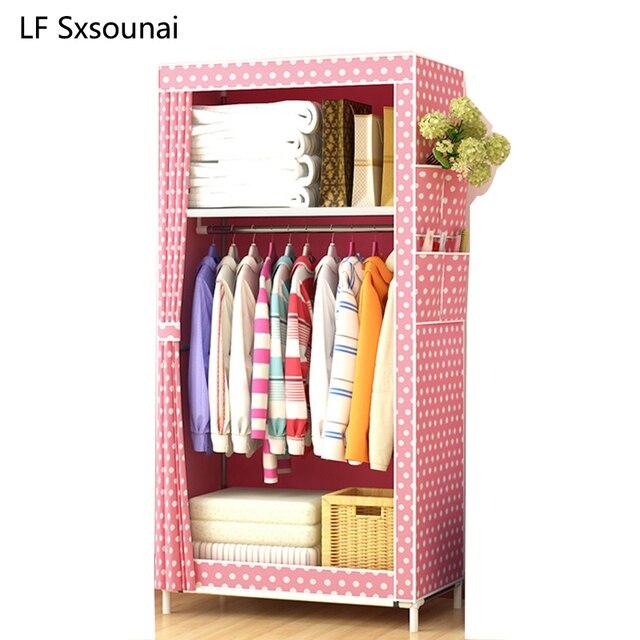 LF Sxsounai Cute Children Baby Baby Cartoon Wardrobe Steel Tube Cloth Magic  DIY Environmental Storage Wardrobe