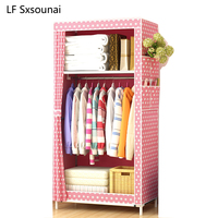 LF Sxsounai Cute children baby baby cartoon wardrobe Steel Tube Cloth Magic DIY Environmental Storage Wardrobe Rack Bedroom 2018