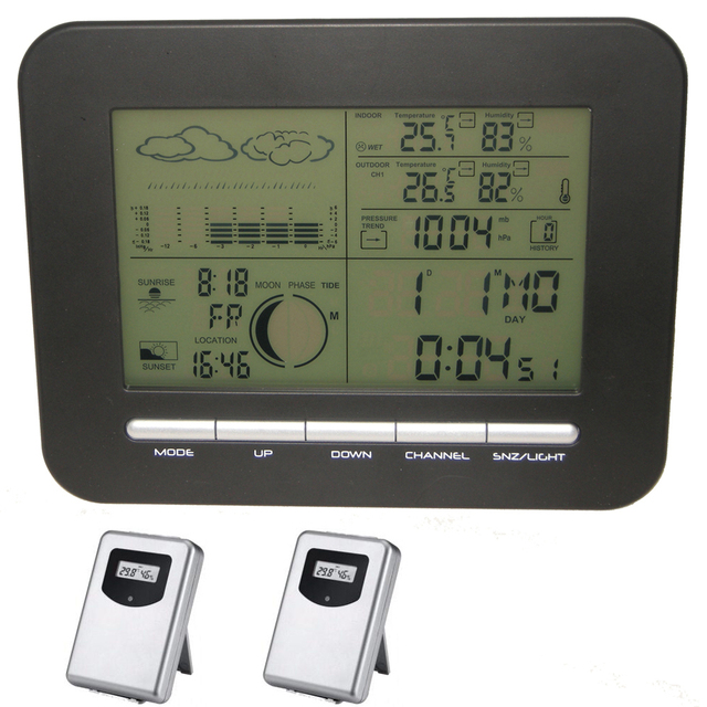 Digital Weather Station Wireless Big Lcd Dual Alarm Clock Barometer+2 IN/OUT Temperature Thermometer&Humidity Hygrometer Sensors
