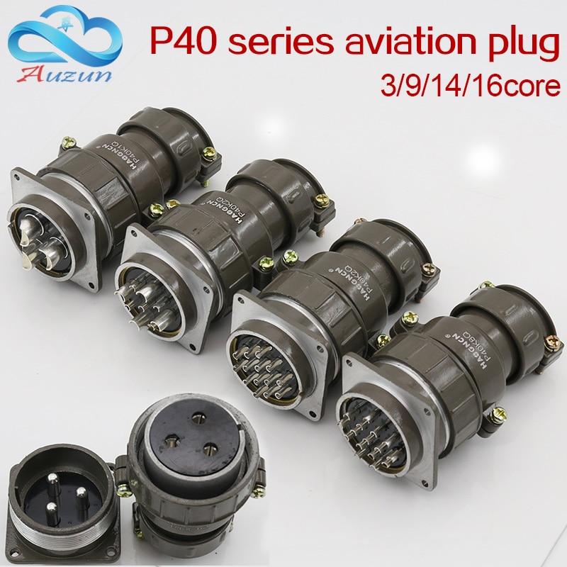 Aviation Plug Socket Round Connector P40 Series 3.9.14.16core Diameter 40MM