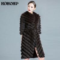 HDHOHP 2017 New Long Fox Fur Coat Women Winter Natural Fox Jackets 100 Real Fur Coats