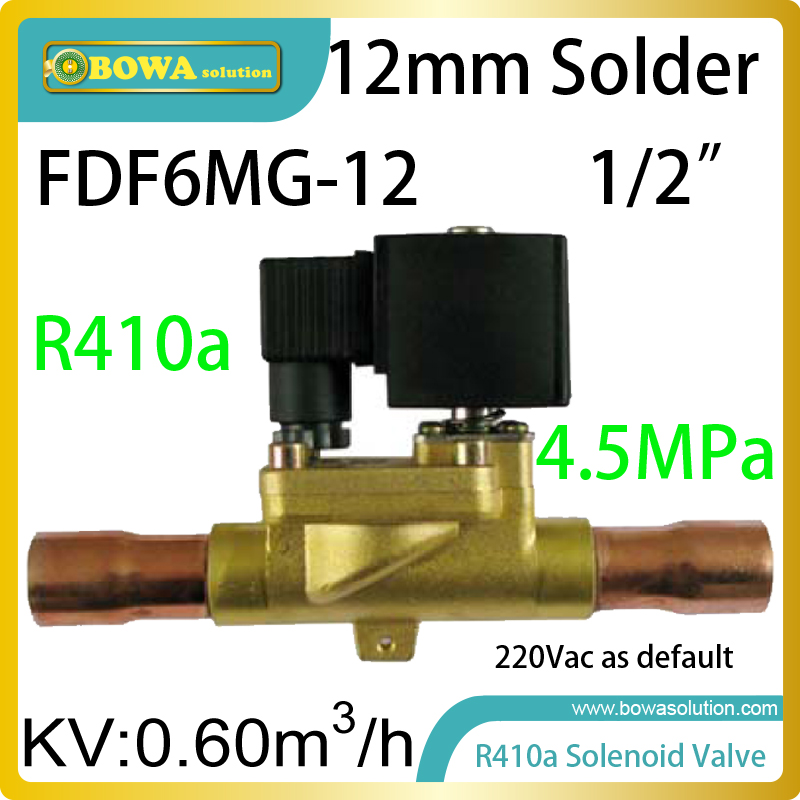 R410a solenoid valve with copper tube connection max. working pressure is 4.5MPa; it is suitable for kinds of R410a equipments 11kw heating capacity r410a to water and 4 5mpa working pressure plate heat exchanger is used in r410a heat pump air conditioner