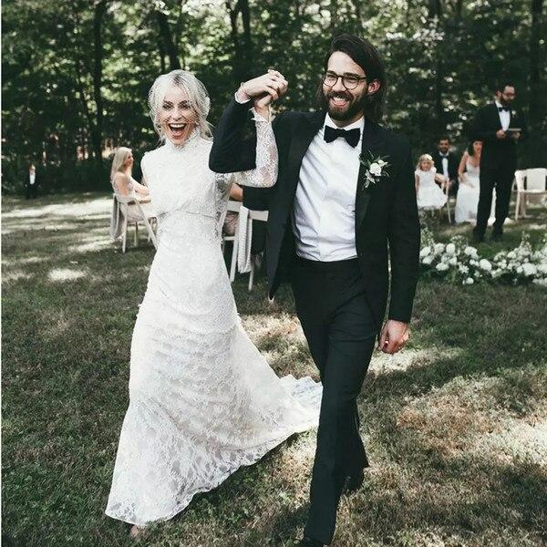 Country Mermaid Wedding Dresses 2019 High Neck Long Sleeves Open Back Lace Bridal Gowns Chapel Train Bohemia Beach Boho Novia