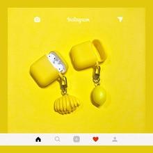Cute Cartoon Fruit Banana lemon Keychain Wireless Bluetooth Earphone Case for Airpods Protective Cover Keyrings