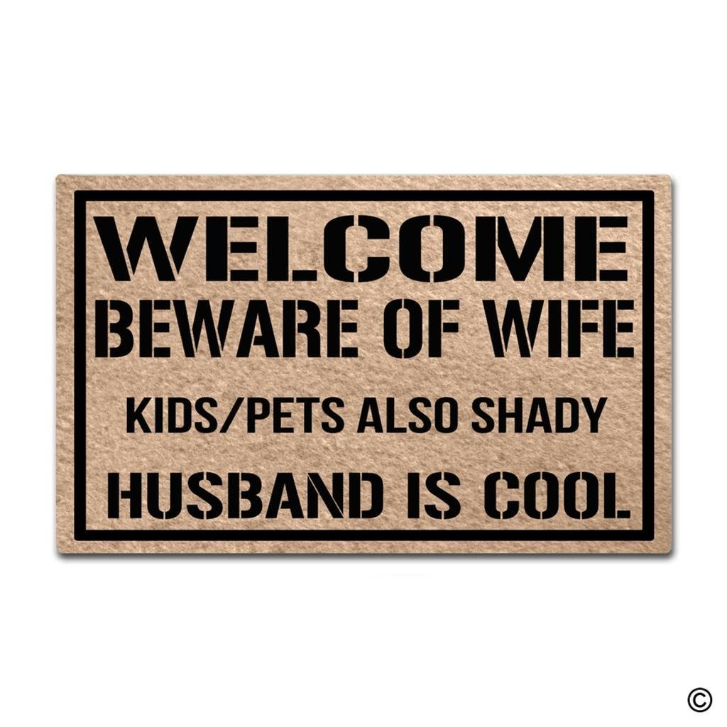 Doormat Entrance Floor Mat Welcome Beware Of Wife Kids Pets Also Shady Husband Is Cool Funny Door Mat image