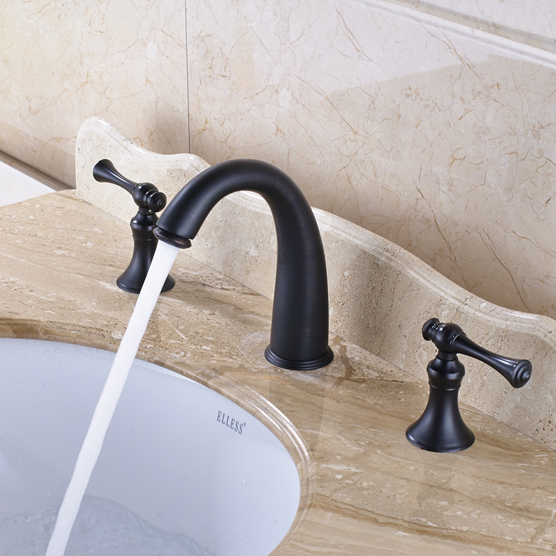 Traditional Solid Brass Countertop Bathroom Sink Faucet Double Handles Mixer Tap Oil Rubbed Bronze bathroom toothbrush cup holder double ceramic cup solid brass cup holder oil rubbed bronze