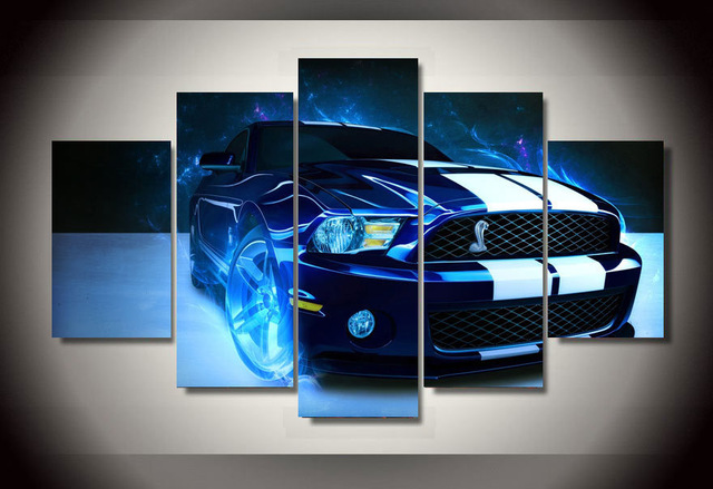canvas painting new 5 piece new shelby mustang car picture painting wall art room decoration canvas