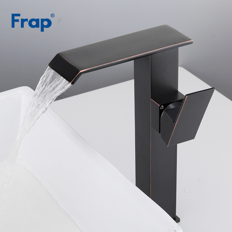 все цены на Frap Bath Basin Faucet Cold and Hot Water Taps Black Single Lever Bathroom Mixer Deck Mounted Vessel Sink Tap musluk Y10136 онлайн