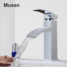 Elegant Design Hot Cold Tap Mixer Chrome Finish Single Handle Brass Waterfall Faucet Bathroom