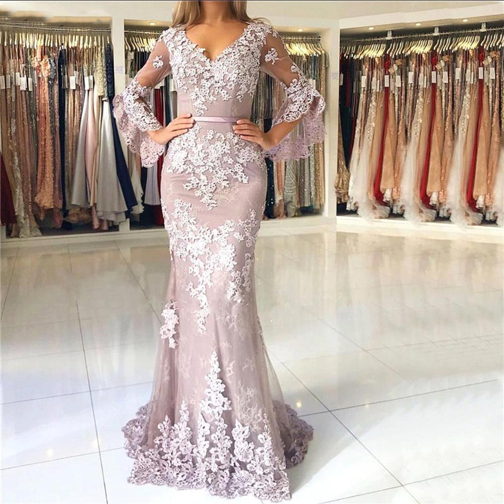 Elegant V Neck Pink Mermaid Lace   Evening     Dresses   Long 2019 Long Sleeves Flower Appliques Formal Prom Party Gown