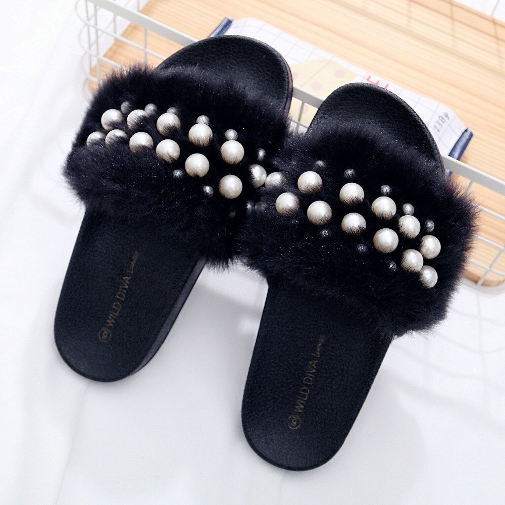 2018 New Women Fur Furry Slide Söta Pearl Thick Bottom Kvinna Flip - Damskor - Foto 4