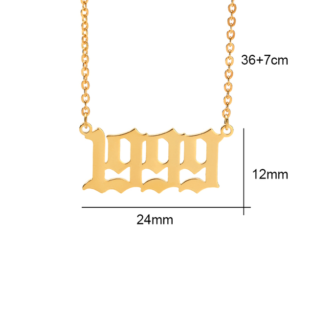 Birth Year Necklace For Women Stainless Steel Gold Color Year Number Gold Pendant Necklaces 2020 Fashion Jewelry Birthday Gift 5