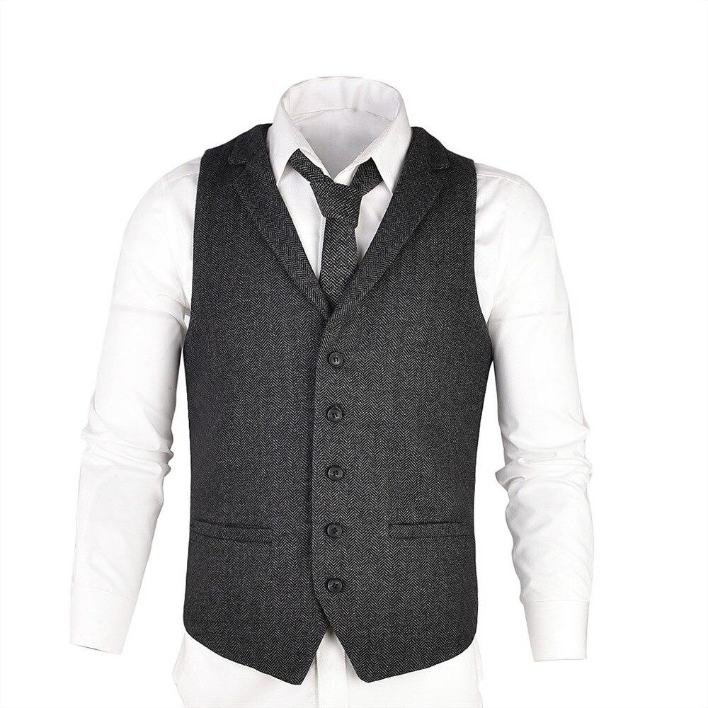 VOBOOM Gray Woolen Tweed Suit Vest For Men Herringbone Slim Fit Premium Wool Blend  Single-breasted Waistcoat 018