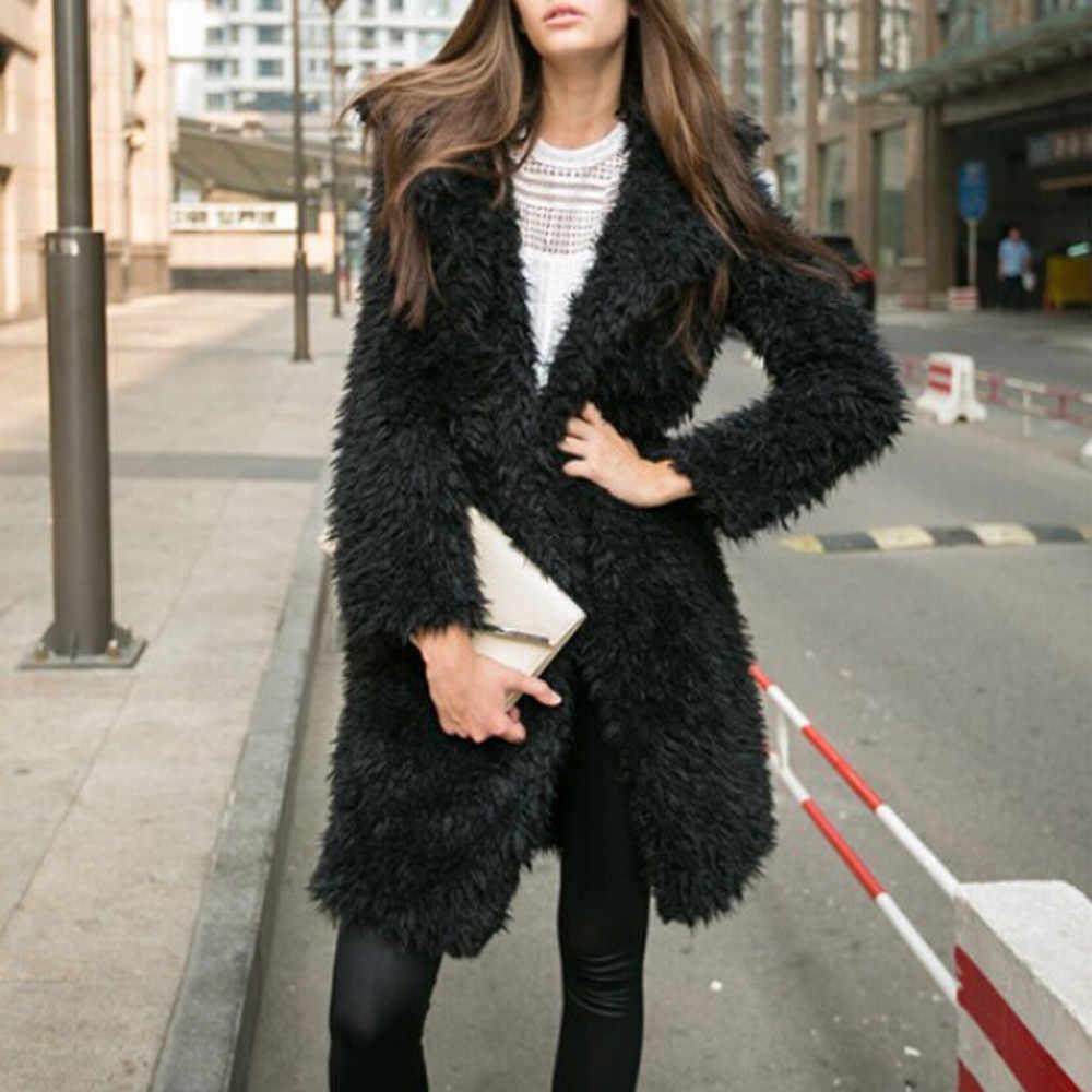 36e1c3441c9 2017 Womens Fashion Winter Long Faux Fur Coat Jackets Casacos Femininos  Long Sleeve Thick Warm Parka