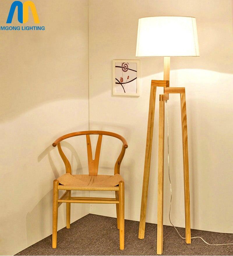 Modern led standing lamp beautiful wooden design floor - Modern lamp shades for living room ...