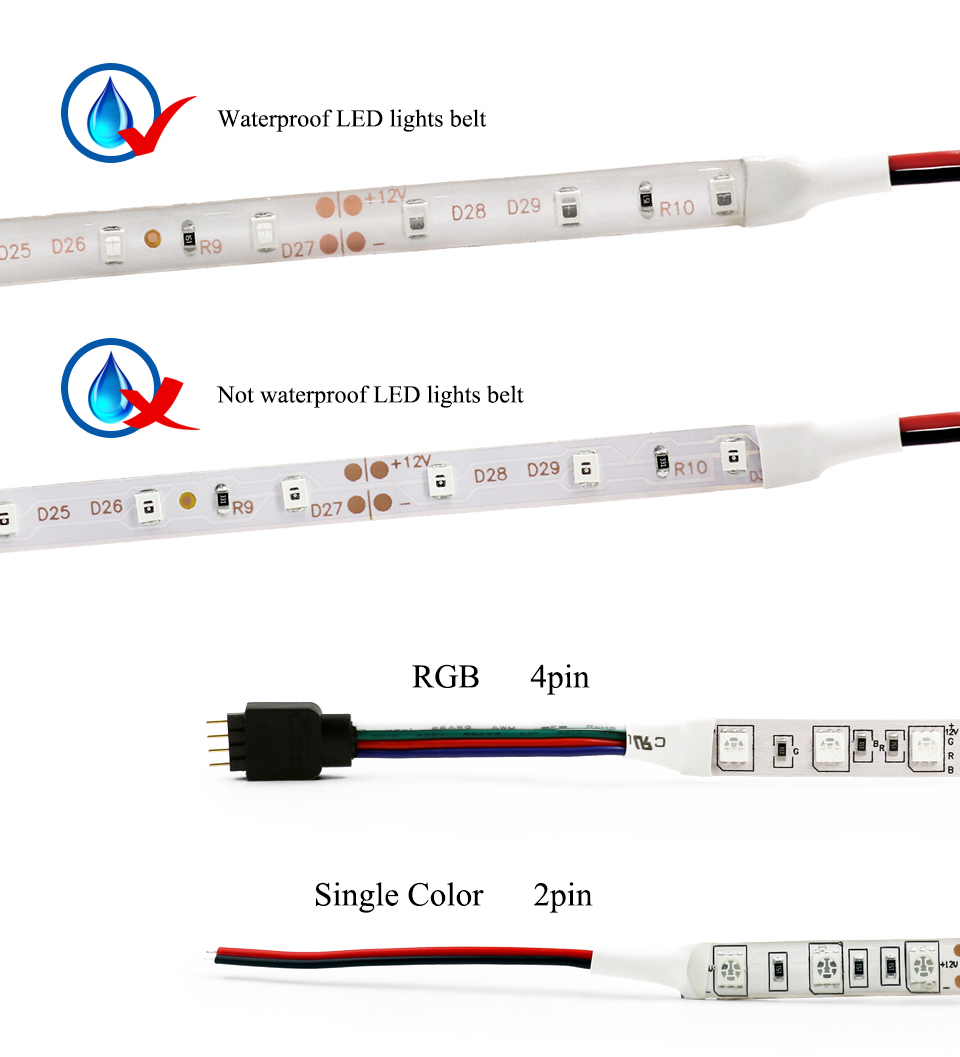 EnwYe 5M 300Leds waterproof RGB Led Strip Light 3528 5050 DC12V 60LedsM Fiexble Light Led Ribbon Tape Home Decoration Lamp_05