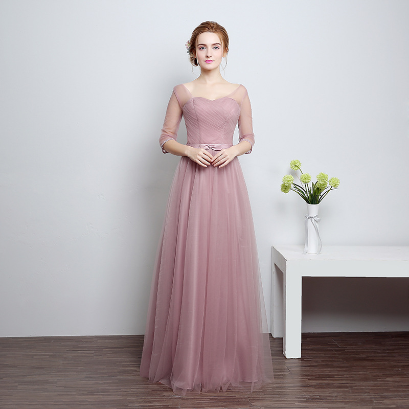 Simple Off The SHoulder Tulle Pleated Lace Up Vestidos De Festa Bow Sash A-Line Long   Bridesmaid     Dresses   Prom Party Gowns