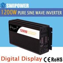 1200W pure sine wave solar power inverter DC 12V 24V 48V  to AC 110V 220V digital display