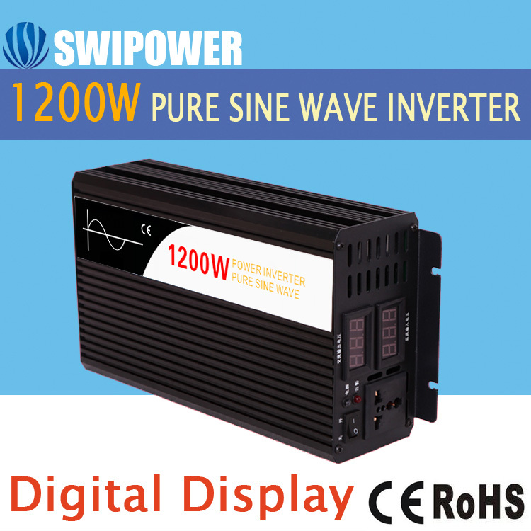 1200W pure sine wave solar power inverter DC 12V 24V 48V  to AC 110V 220V digital display new 400w 800w pure sine wave solar power inverter dc 12v 24v to ac 110v 220v car power inverter led display drop shipping