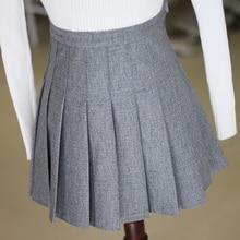 Новинка года; сезон осень-зима; Корейская версия; для отдыха; для колледжа; для девочек; серый цвет; тонкая плиссированная юбка