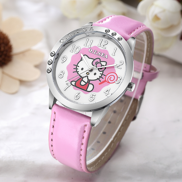 Hot Sales O.T.SEA Brand Cute Candy Leather Hello Kitty Watch Children Girls Wome