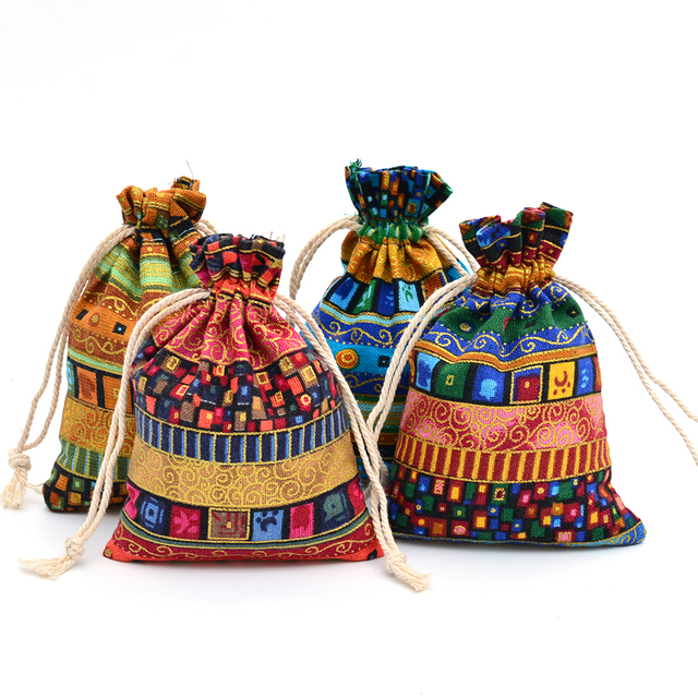 973c6a1427 12pcs Egyptian Style Jewelry Packaging Pouch Print Drawstring Gift Bag  Cotton Sachet Candy Ethnic Travel Purse Cotton Gift Bags