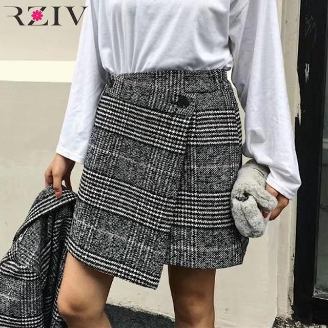 RZIV d'hiver jupe et mode femmes jupes casual plaid jupe plissée boutonné costume irrégulier jupe