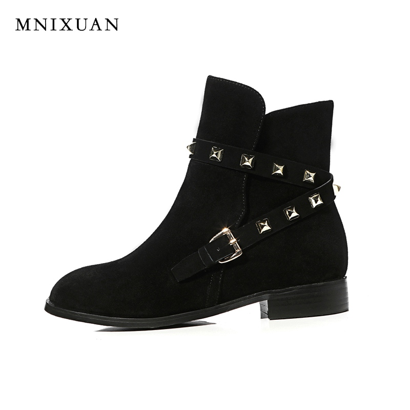 Genuine leather short boots women 2017 new fashion high quality handmade ladies shoes flats ankle boots black big size Booties new 2017 spring summer women shoes pointed toe high quality brand fashion womens flats ladies plus size 41 sweet flock t179