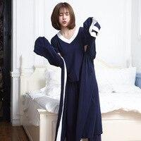 RenYvtil Long 100% Cotton Womens Robe + Short Sleeve top + Pant Loose V Neck Bathrobe Night Sexy Robes Night Grow Kimono Robe