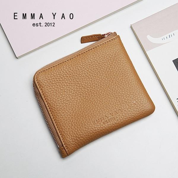 EMMA YAO äkta läder plånbok kvinnliga mode kvinnor plånböcker kända varumärken myntpåsar innehavare