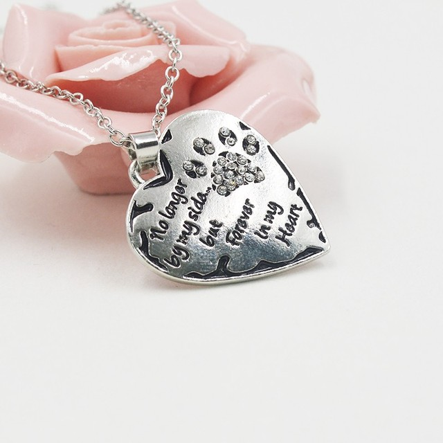 Heart Paws Necklace Chain Pendant Pink Black No Longer By My Side But Forever In My Heart Charm Women Men Love Friends Gifts