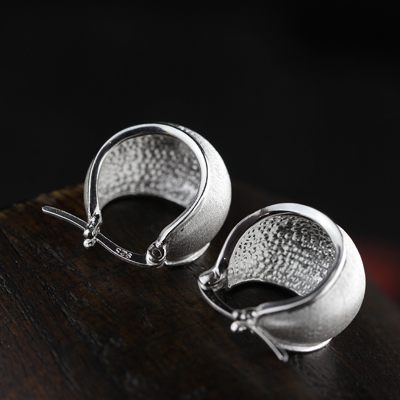 Thailand Chiang Mai folk style S925 pure handmade sterling silver jewelry drawing ear clip free shipping цена
