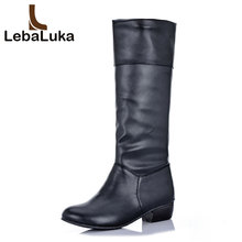 Купить с кэшбэком LebaLuka Fashion Women High Heels Boots Warm Thick Fur Shoes Women Winter Knee Boots Vintage Party Office Lady Shoes Size 34-43