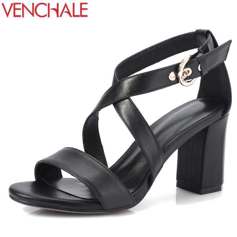 VENCHALE summer new fashion super high square heel platform cross-tied buckle strap open toe heel height 8 cm women sandals venchale 2018 summer new fashion sandals wedges platform women shoes height heel 10 cm buckle strap casual cow leather sandals