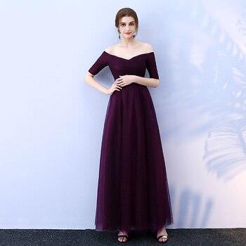 Beauty-Emily Long Purple Red Gray Evening Dresses 2019 A-Line Off the Shoulder Half Sleeve Vestido da dama de honra 3