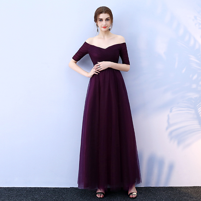 Beauty-Emily Long Purple Red Gray Evening Dresses 2019 A-Line Off the Shoulder Half Sleeve Vestido da dama de honra 2