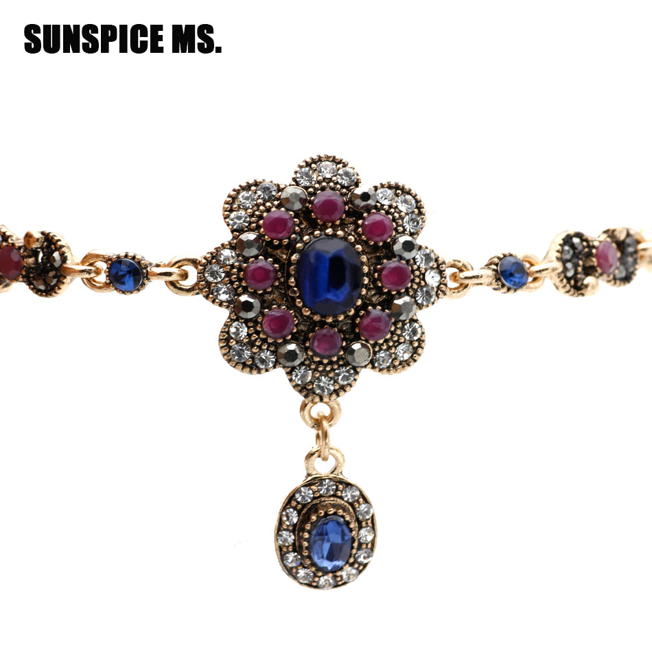 Wholesale Turkish Ethnic Resin Flower Bracelets Antique Gold Color Pendant Charm Bracelet Indian Bohemia Wedding Hand Jewlery