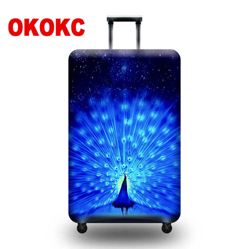 OKOKC Peacock Opening Suitcase Elastic Dust Luggage Protective Cover Suitable18-32 Inch Password Box Trolley Case цена