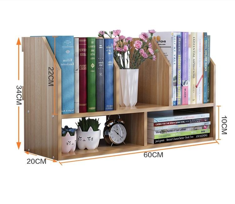 60*20*34CM Solid Wood Bookcase Portable Desktop Bookshelf Modern Office Book Shelf